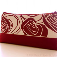 Burgundy 3-Way . Clutch Wristlet and Hip Bag