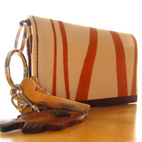 Handprinted Striped Card Holder / Mini-wallet